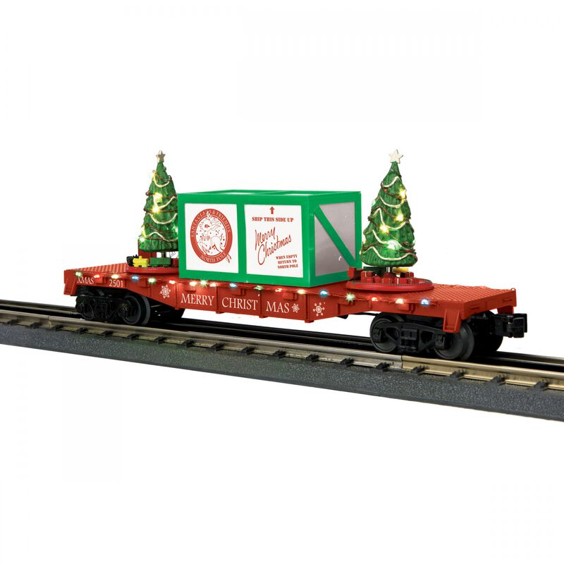 O-27 Flat Car with Lighted Christmas Trees Red