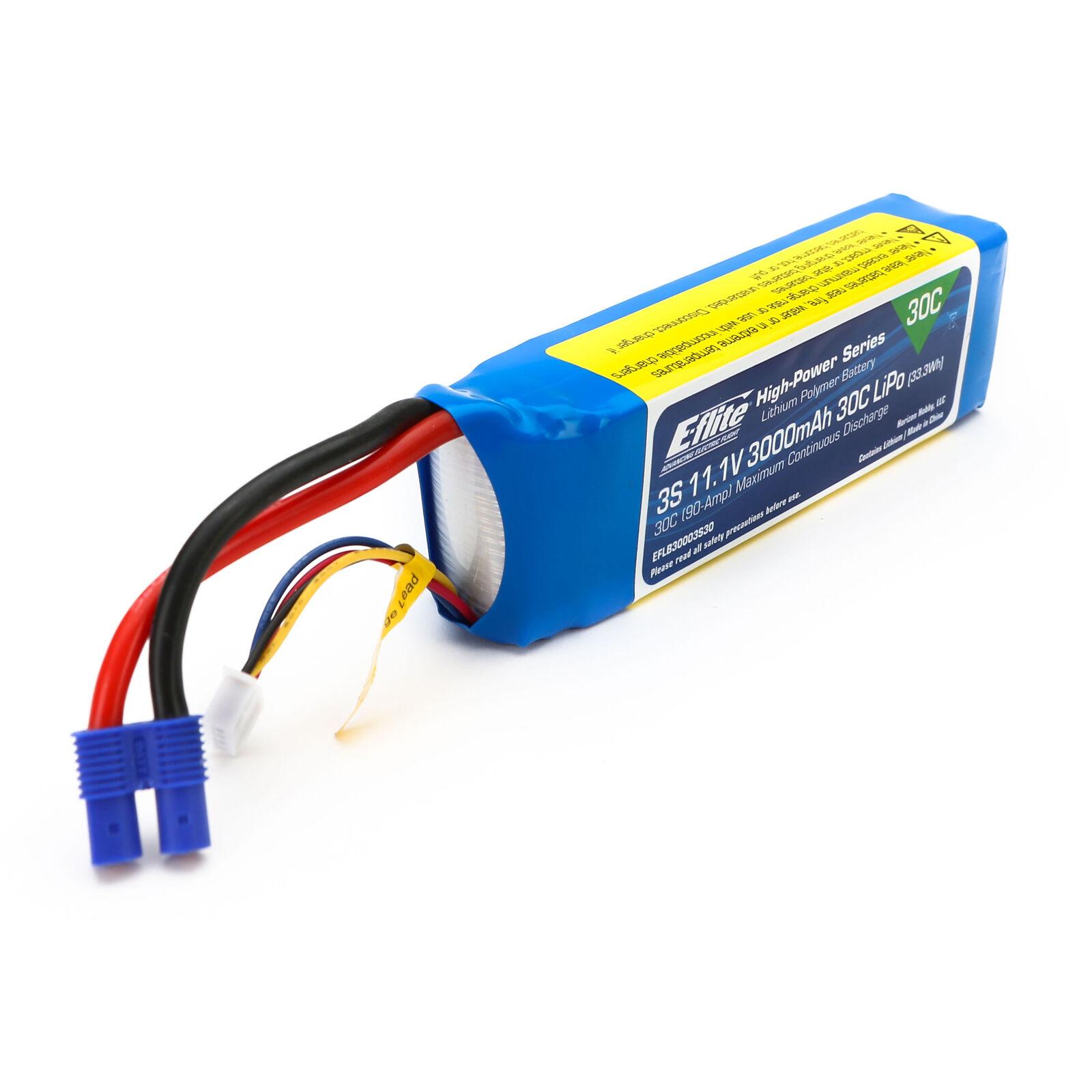 11.1V 3000mAh 3S 30C LiPo Battery: EC3