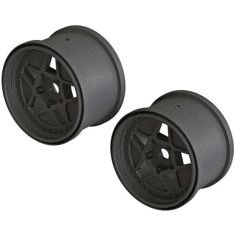 1/10 MT Front/Rear 3.8 Wheels, 17mm Hex, Black (2): Outcast 4x4