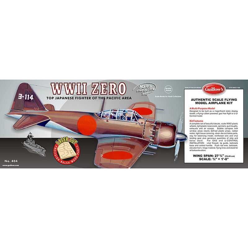 "1/16 Mitsubishi Zero Laser Cut Kit, 27.75"""