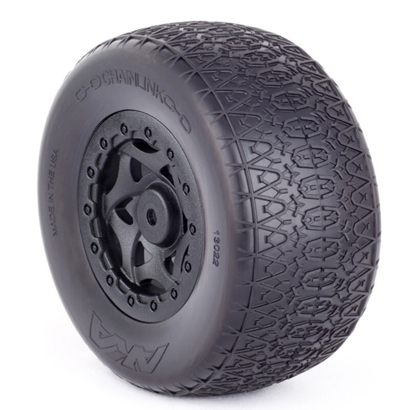 1/10 Chain Link SC Wide Clay Front/Rear Wheel Mounted with Red Inserts: SC10 4X4 (2)