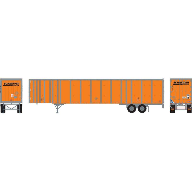 HO RTR 53' Wabash Plate Trailer Schneider #A76237