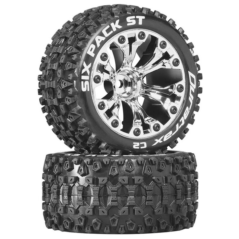 """Six Pack ST 2.8"""" 2WD Mounted 1/2"""" Offset Tires, Chrome (2)"""