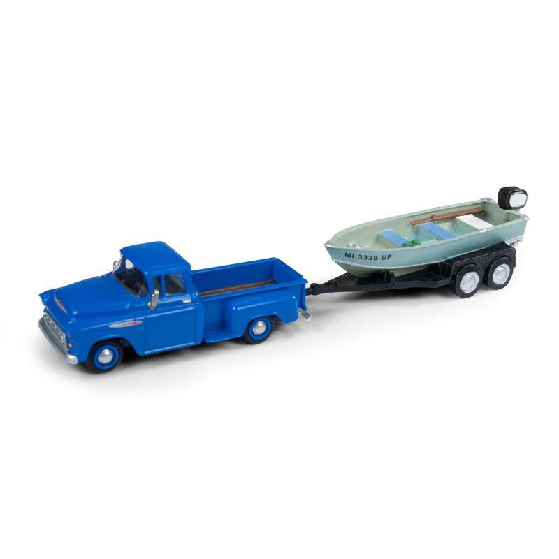 HO 1957 Chevy Step Side Pickup Boat & Trailer, Blue