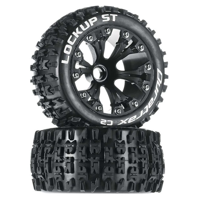 """Lockup ST 2.8"""" 2WD Mounted Front Tires, Black(2)"""