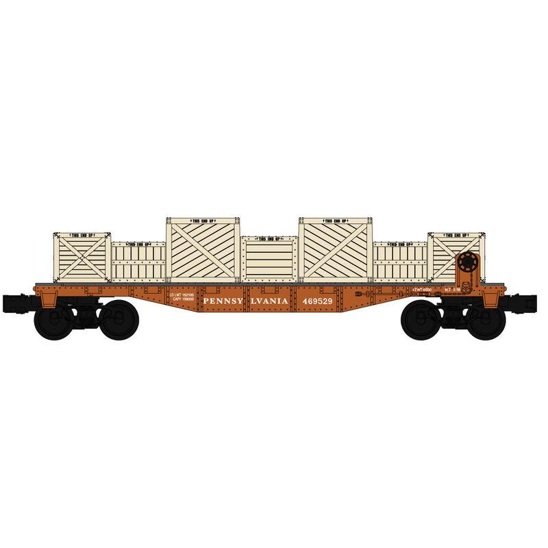 O-27 Williams 40' Flat w/Crate Load, PRR