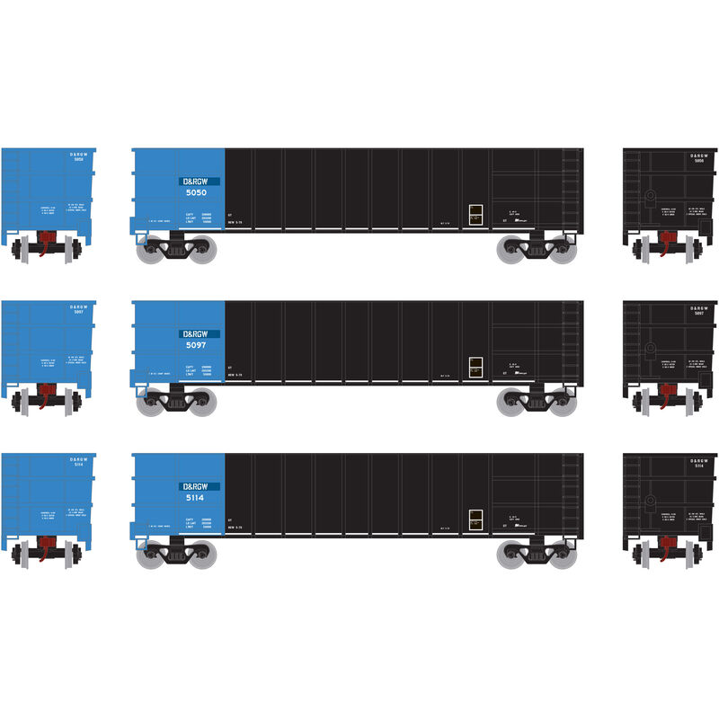 HO RTR Thrall High Side Gondola with Load D&RGW #3 (3)