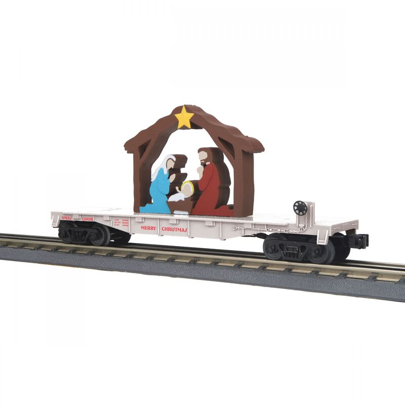 O-27 Flat Car with Lighted Nativity Christmas White