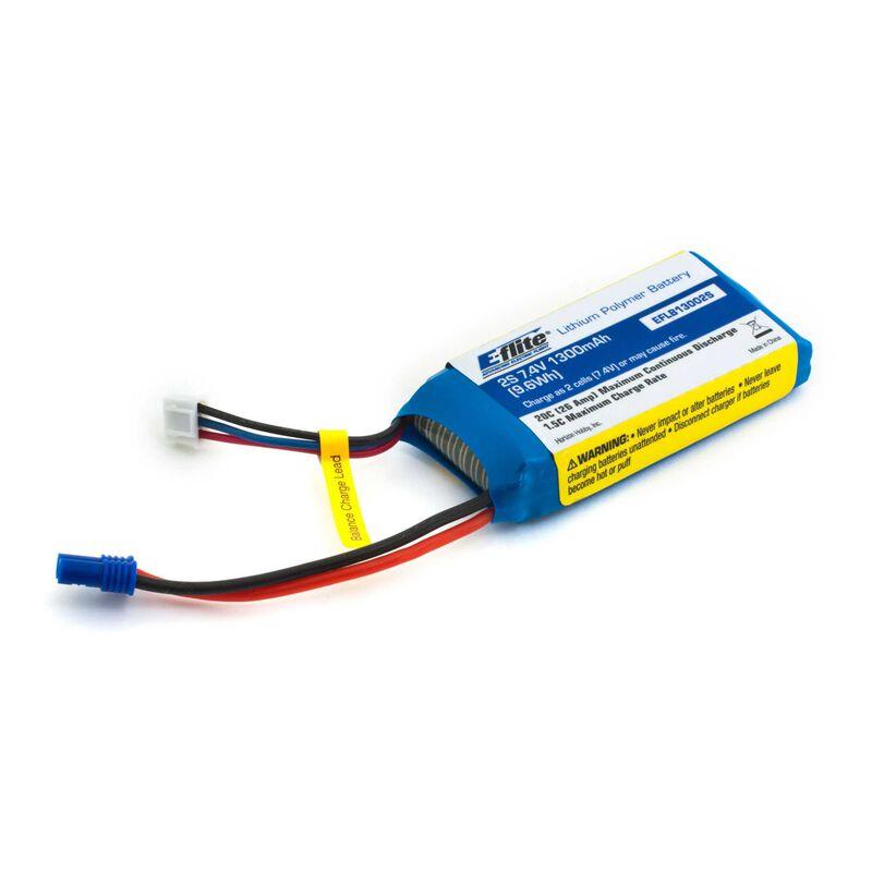 7.4V 1300mAh 2S 20C LiPo Battery: EC2