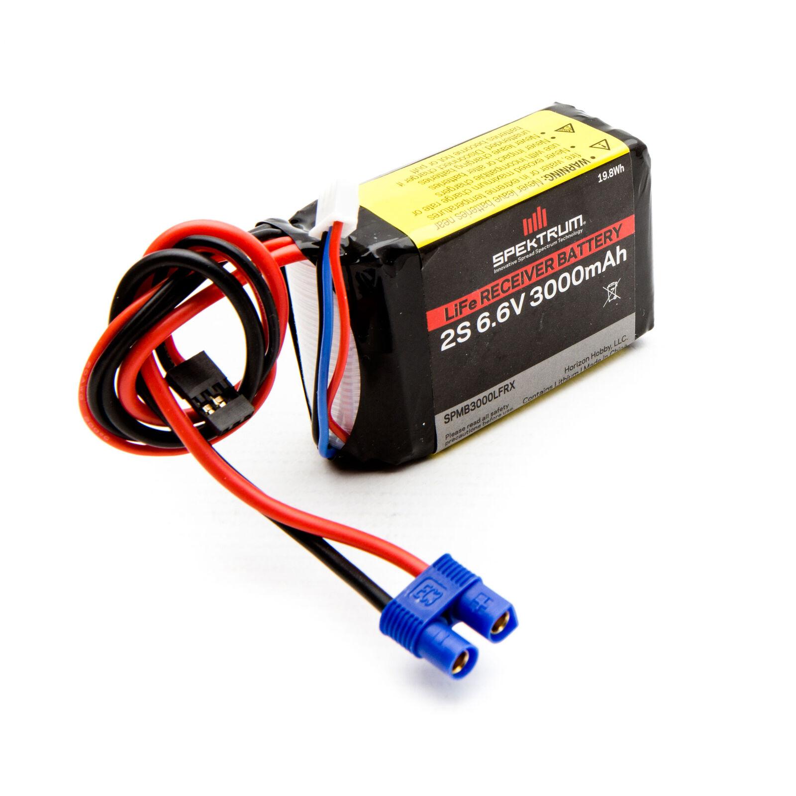 6.6V 3000mAh 2S LiFe Receiver Battery: Universal Receiver, EC3