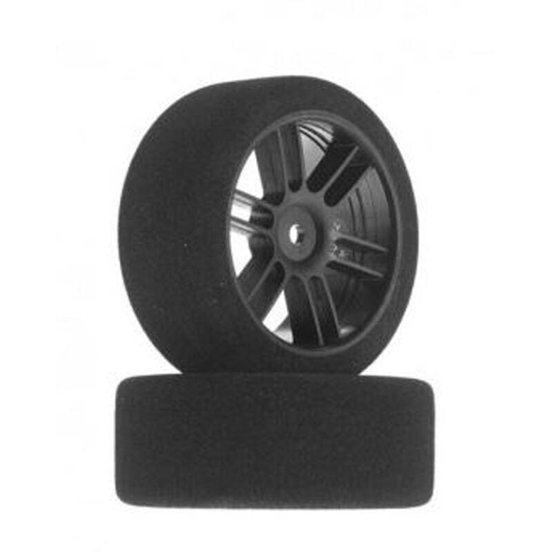 1/10 30mm Nitro Touring Foam Tires, Mounted, 32 Rear, Black Wheels (2)