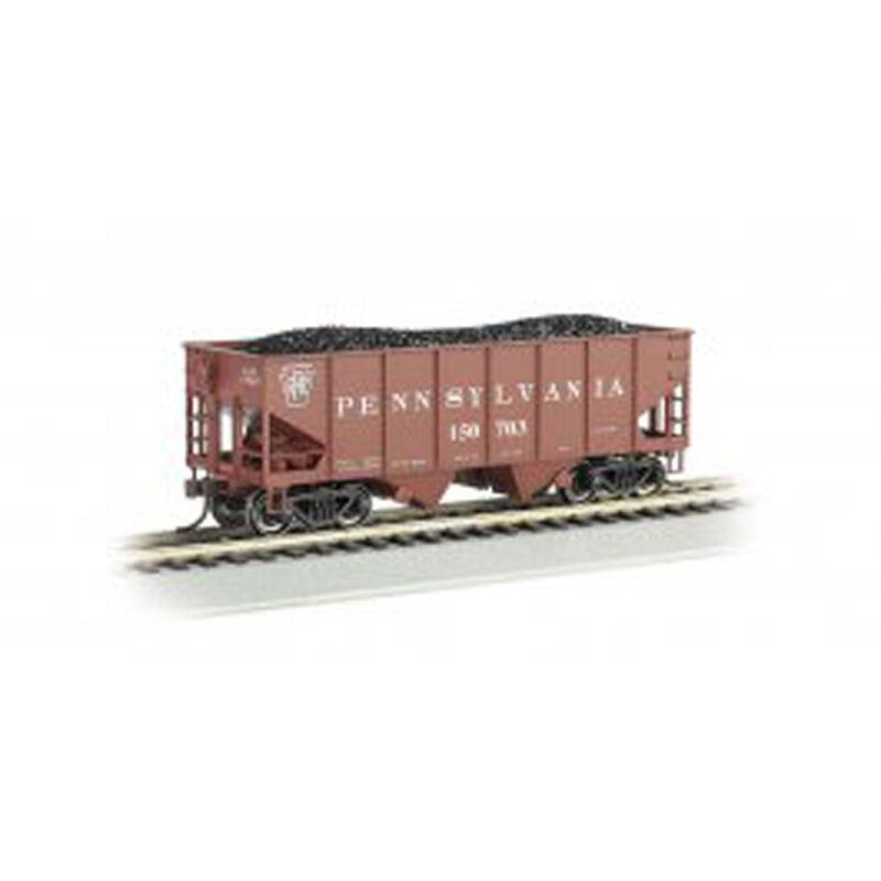 HO 55-Ton 2-Bay Hopper with Coal Load PRR #150703