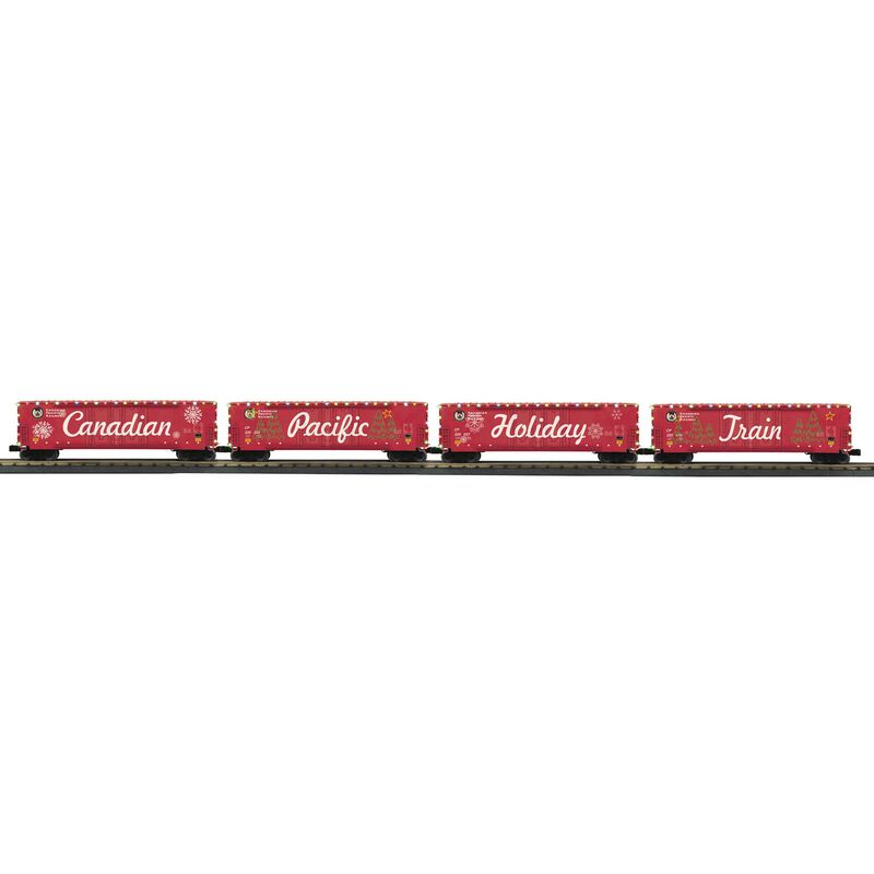 O-27 50' Double Door Boxcar Set with LED Lights (4)
