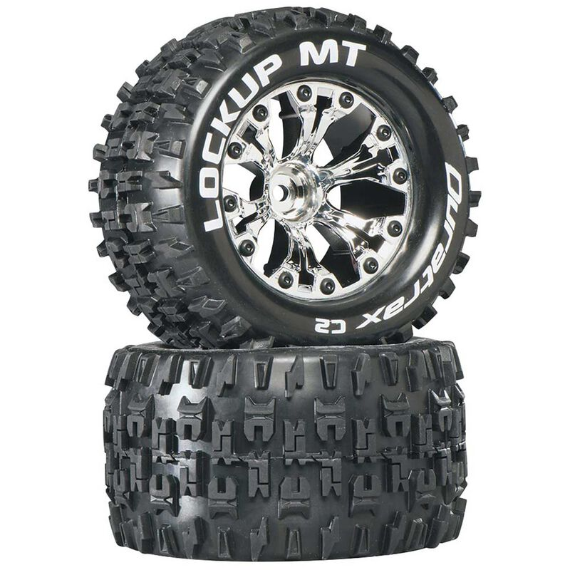 "Lockup MT 2.8"" 2WD Mounted 1/2"" Offset Tires, Chrome (2)"