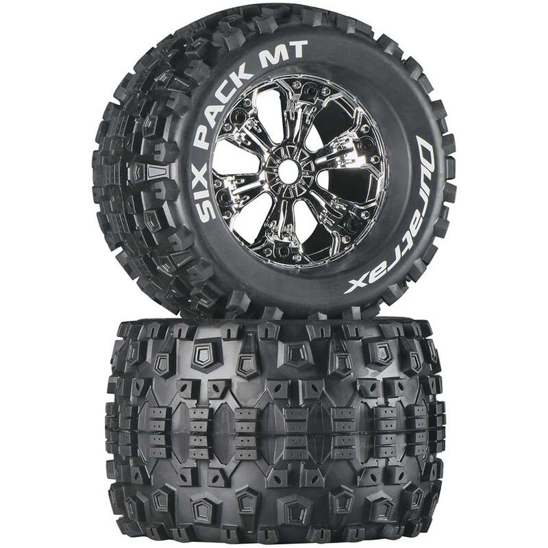 "Six-Pack MT 3.8"" Mounted Tires, Chrome (2)"
