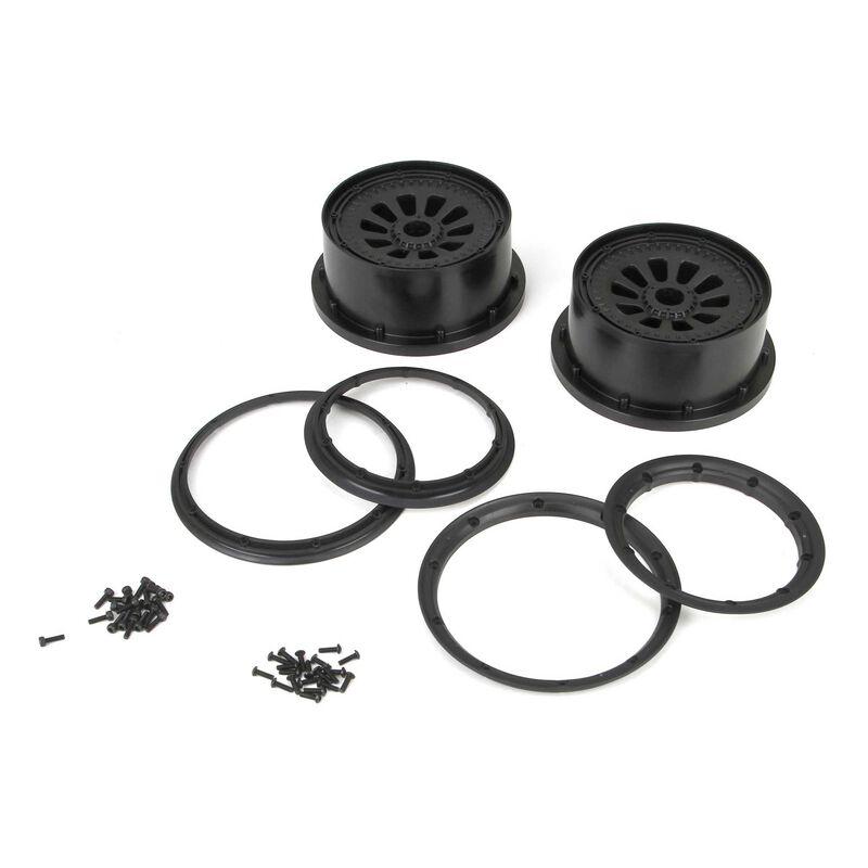 1/5 Wheel and Beadlock Set 4.75, 24mm Hex, Black (2): 5IVE-T