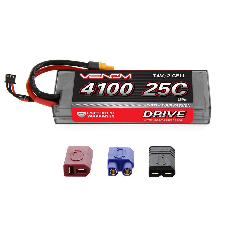 7.4V 4100mAh 2S 25C DRIVE Hardcase LiPo Battery: UNI 2.0 Plug