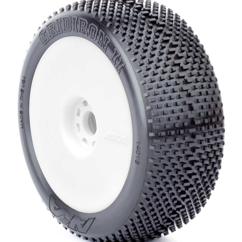 1/8 Gridiron II EVO Super Soft Long Wear Front/Rear Wheel Mounted with Red Inserts, White: Buggy (2)