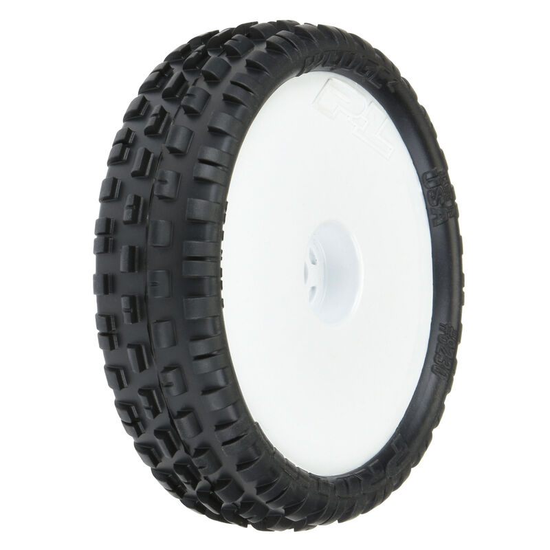 "Wedge Squared 2.2"" 2WD Z4 Buggy Tires, White Wheel Mounted (2): RB7, B6, B6D"