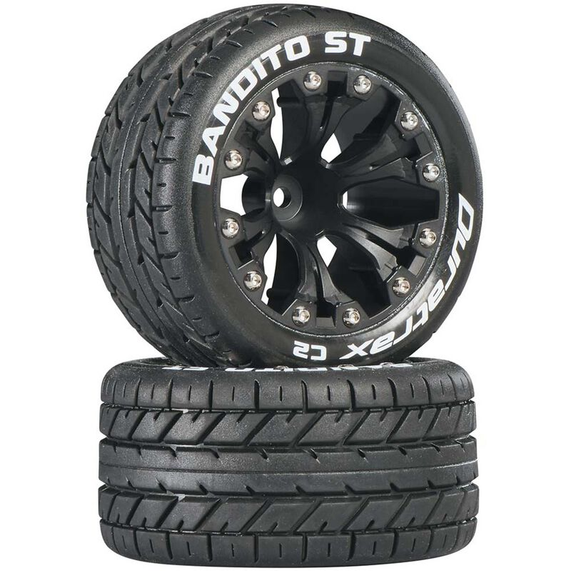 """Bandito ST 2.8"""" 2WD Mounted Front C2 Tires, Black (2)"""