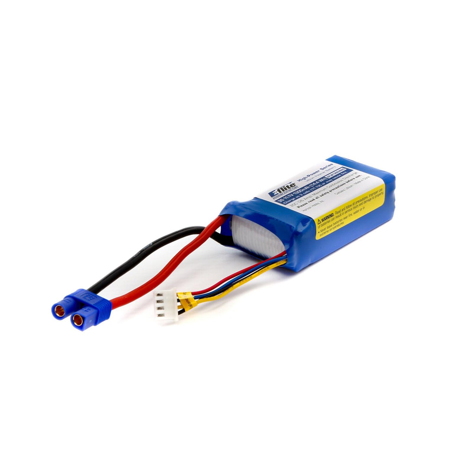 11.1V 1300mAh 3S 20C LiPo Battery: EC3