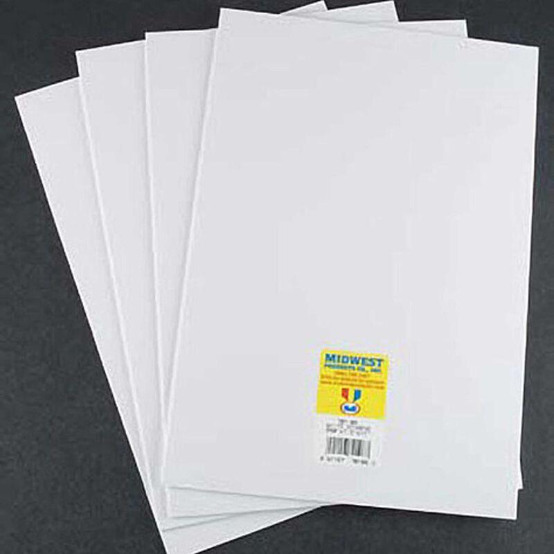 """Styrene Sheets, White, .080 x 7.6"""" x 11"""" (4)"""