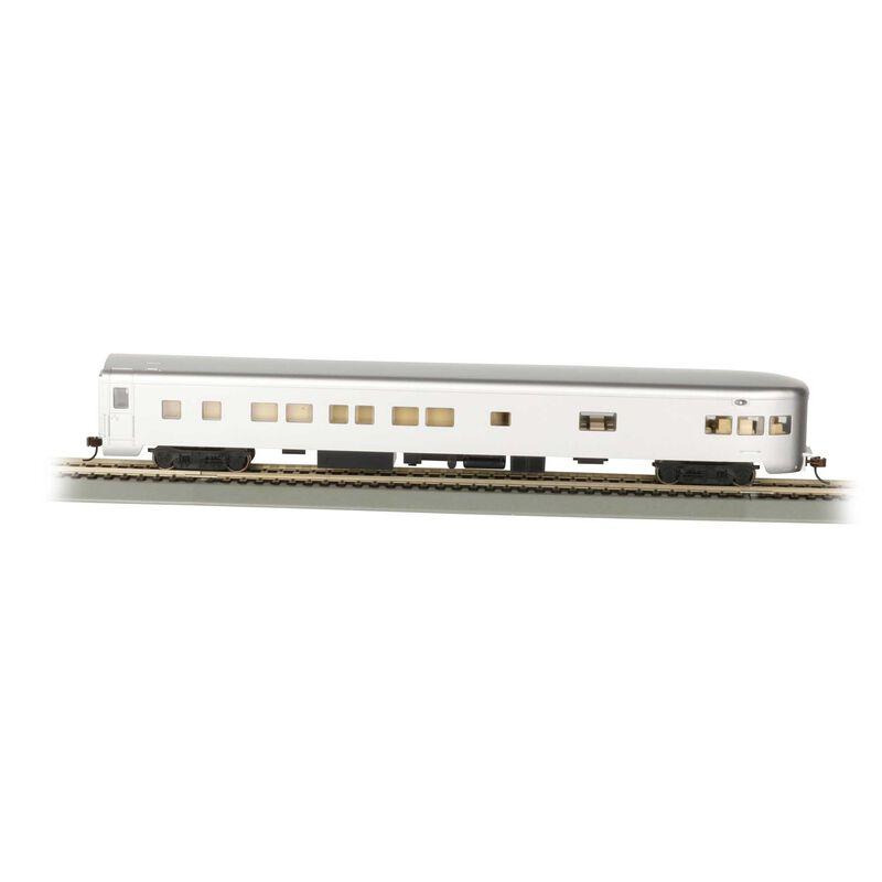 HO 85' Smooth Side Observation Car Undec Aluminum