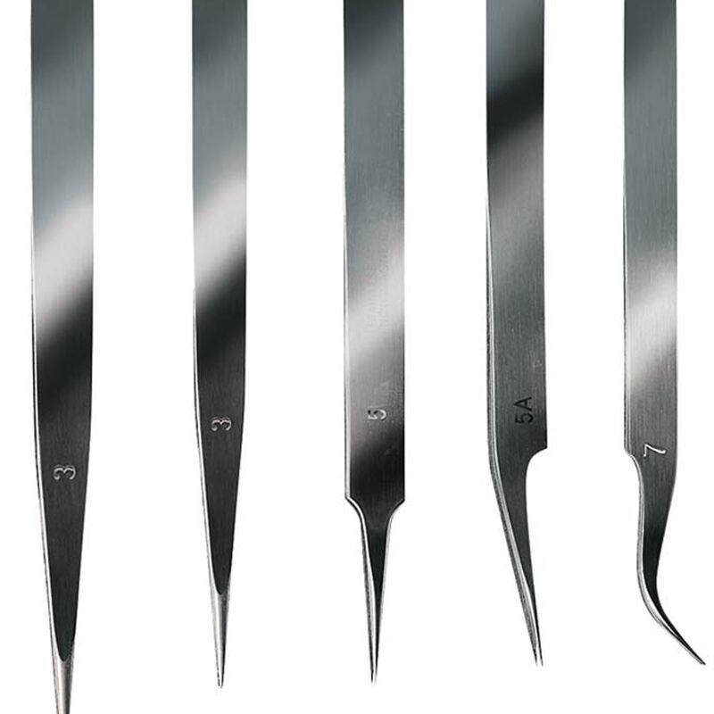 Stainless Steel Extra Fine Tweezer Set 5pc