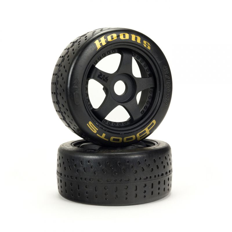 1/7 dBoots Hoons Front 100 Gold Pre-Mounted Belted Tires,  17mm Hex (2): Felony