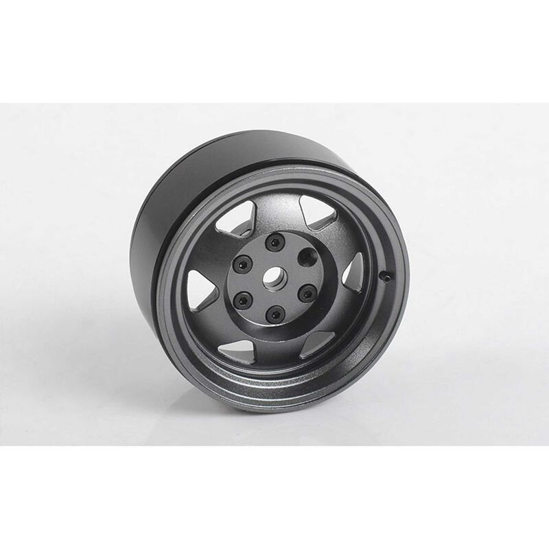 1/10 OEM XJ 1.9 Front/Rear Beadlock Crawler Wheels, 12mm Hex, Gunmetal (4)