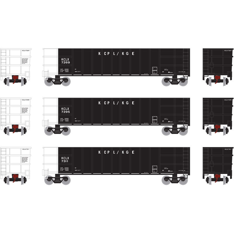 HO RTR Thrall High Side Gondola with Load KCLX #3 (3)