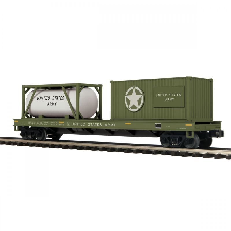 O Flat with  Tank Container & 20' Cont USARM #36005