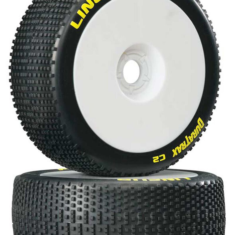 Lineup 1/8 C2 Mounted Buggy Tires, White (2)
