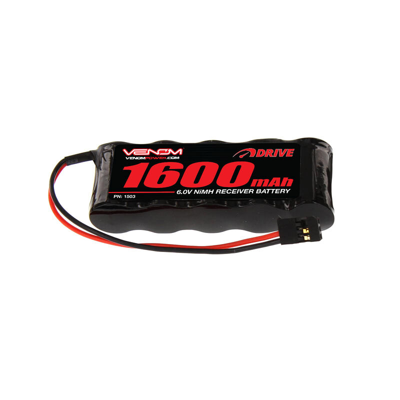 6.0V 1600mAh 5-Cell DRIVE NiMH Flat Receiver Battery: Universal Receiver