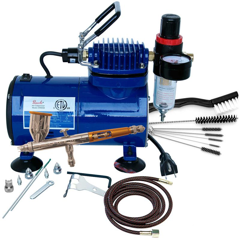 Airbrush & Compressor Package: TG3F, D500SR, & AC7
