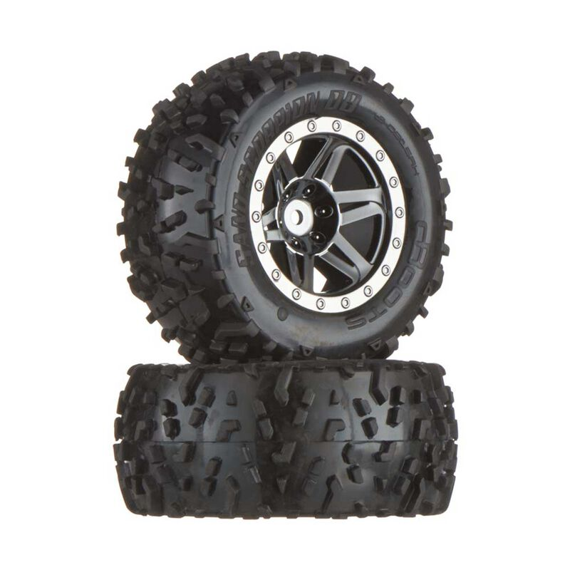 1/8 dBoots Sand Scorpion XL Rear 2.8 Pre-Mounted Tires, 17mm Hex, Black/Chrome (2)