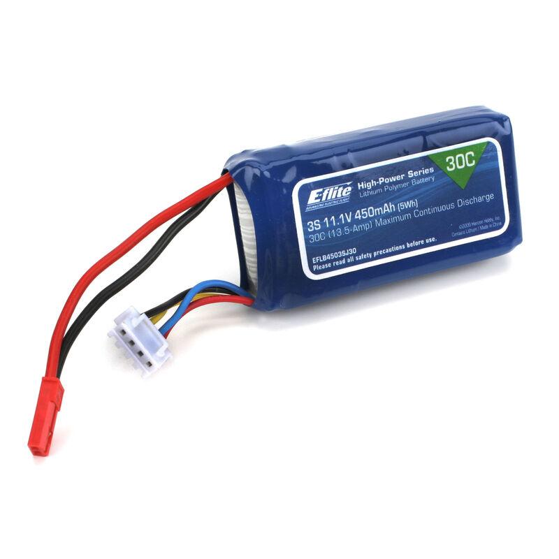 11.1V 450mAh 3S 30C LiPo Battery: JST