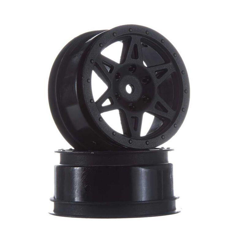 1/10 Front 2.2/3.0 Wheels, 12mm Hex, Black: Raider