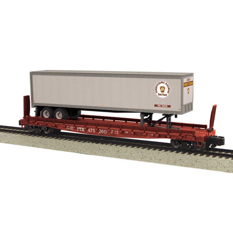 S Scale Flat w/48' Trailer, PRR #475263