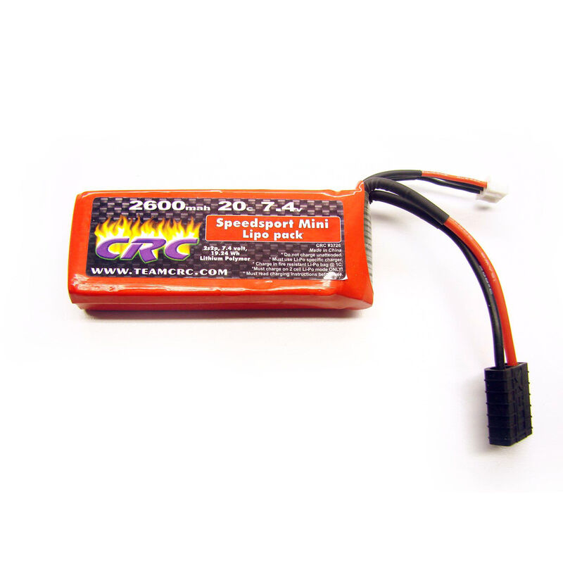 7.4V 2600mAh 2S 20C Mini Speedsport Hardcase LiPo Battery: Traxxas