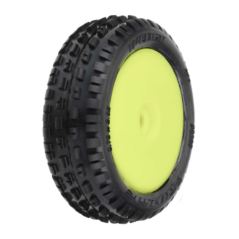 1/18 Wedge Front Carpet Mini-B Tires Mounted 8mm Yellow Wheels (2)