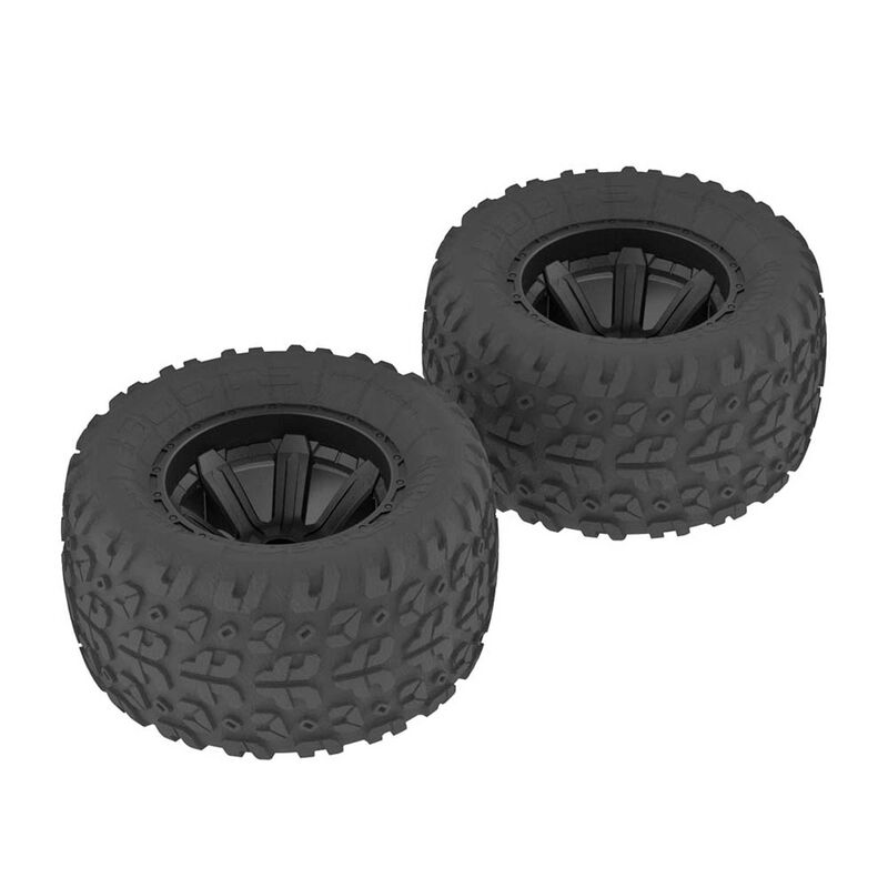 1/10 Copperhead MT Front/Rear 2.2/3.0 Pre-Mounted Tires, 12mm Hex, Black (2)