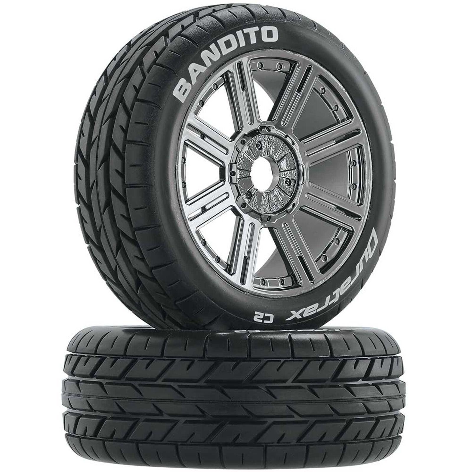 Bandito 1/8 Buggy Tire C2 Mounted Spoke Tires, Chrome (2)