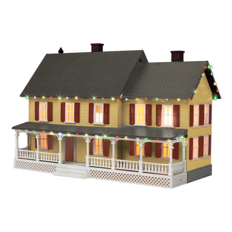 O #4 Country House w Operating Christmas Light Tan