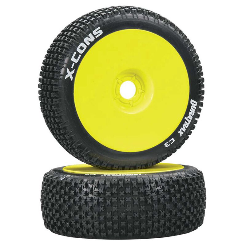 X-Cons 1/8 C3 Mounted Buggy Tires, Yellow (2)