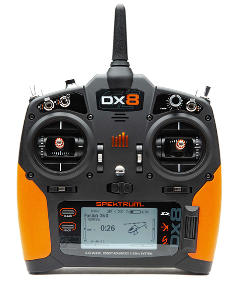 Front of DX8 transmitter with orange grips