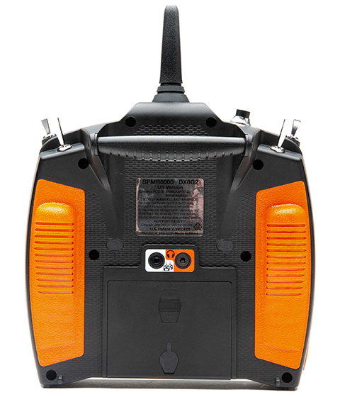 Back of DX8 transmitter with orange grips