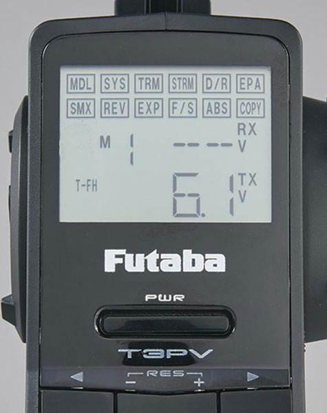 Futaba 3PV 3-Channel FHSS System - Screen