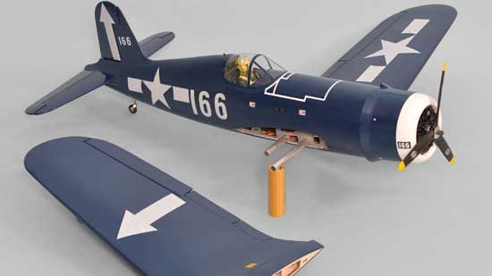 Phoenix Model F4U Corsair GP/EP 20cc ARF - Removed wing showing joiner tubes