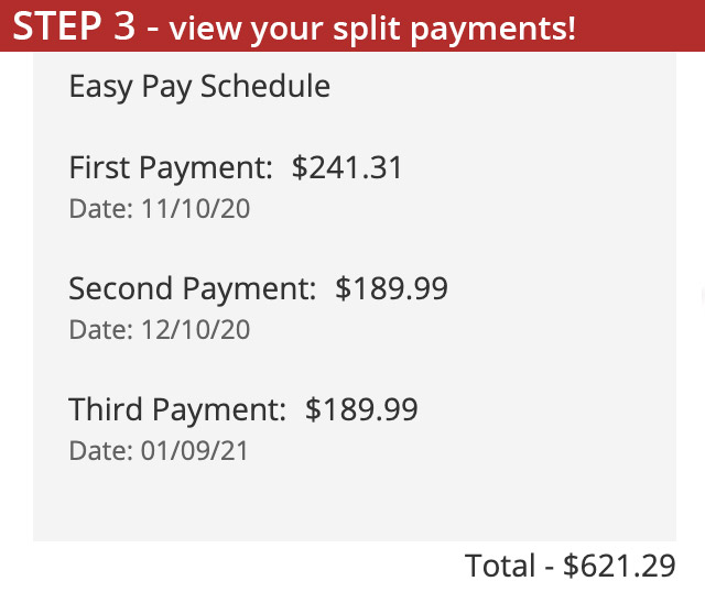 Easy Pay Set Three - View Payment Schedule